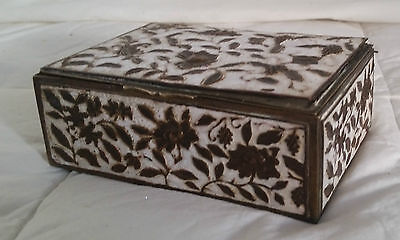 Antique Chinese Cloisonne / Enamel On Brass Wood Lined Box