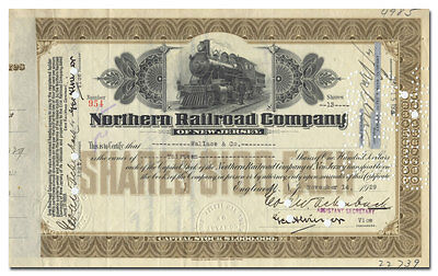 Northern Railroad Company of New Jersey Stock Certificate