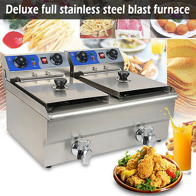 Electric Countertop Deep Fryer 20L Dual Tank Commercial Restaurant Meat Faucet