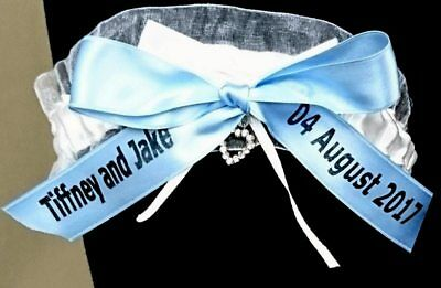 PERSONALISED ivory garter names and date added. Hen wedding something blue.