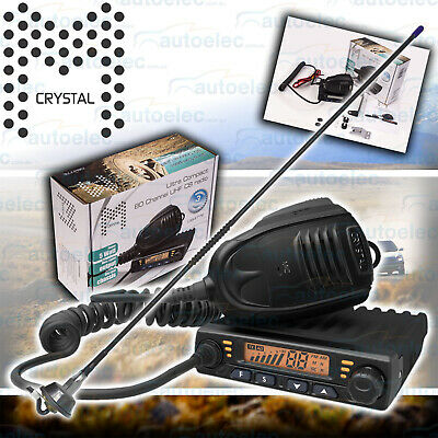 Crystal Db477E Compact Mini 5W 80Ch Uhf Cb Radio Two Way + Uniden Antenna Kit