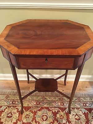 19th C English Octagonal Satinwood & Mahogany Inlaid Sewing Table