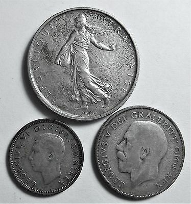 Lot of (3) SILVER Coins -France 1963 5 Francs, 2 from Great Britain -1924 & 1939