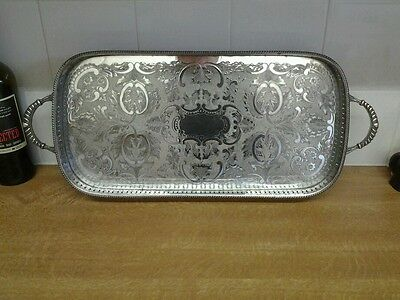 Silver plated gallery tray with ornate handles