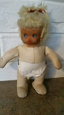 Antique BABY DOLL 7 Inch  Painted Face  Stuffed Oil Cloth Body