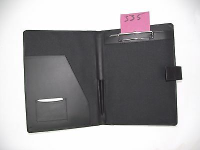 A4 Black  Leather folder with clipboard (style 335) also holds A4 diary