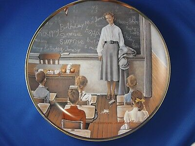 """Norman Rockwell Plate America at Work """"The School Teacher"""" 1984 with COA"""