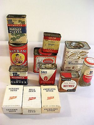 Vintage Spice Tins & Boxes - Lot of 12
