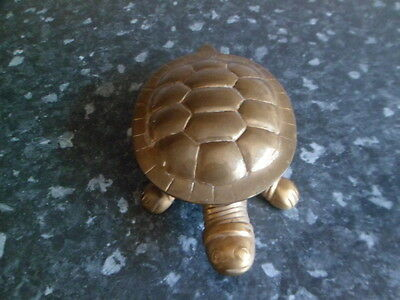Brass trinket box in the shape of a tortoise