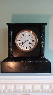 Victorian slate and marble mantle clock.