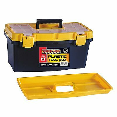 """19"""" Tool Box DIY Storage Carry With Handle Tray Lockable Sturdy Plastic Toolbox"""