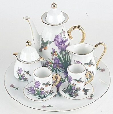 Miniature Hummingbirds Porcelain Tea Set Teapot Sugar Bowl Creamer 2 Teacups