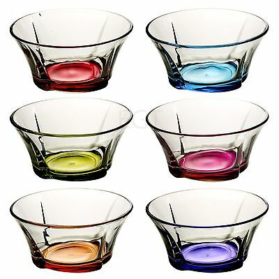 6 x Coral Glass Curved Coloured Base Dessert Ice Cream Fruit Sundae Bowls Dishes