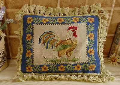 "18"" French Country Vintage Artistic Handmade Rooster Flower Needlepoint Pillow"