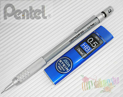2pcs Pentel Graphgear 500 PG515-A 0.5mm automatic pencil + 1 tube HB leads