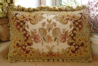 "23"" OLD Vintage Antique Amazing Victorian Rose Chic Needlepoint Pillow ART"