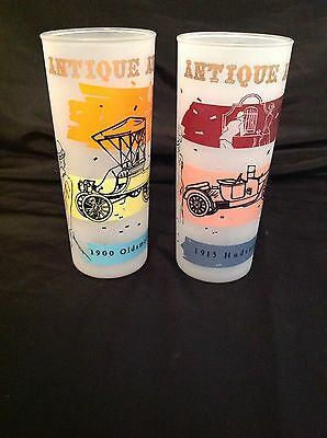 Vintage Antique Auto Glass Tumblers ~ Set of 2~1900 Oldsmobile and 1913 Hudson