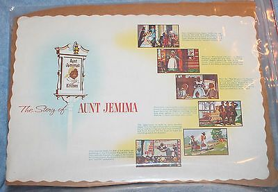 Vintage DISNEYLAND PAPER PLACEMAT THE STORY OF AUNT JEMIMA AUNT JEMIMA'S KITCHEN
