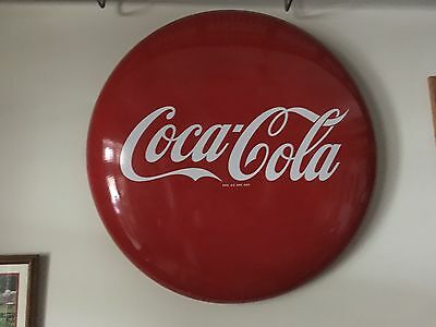 1950's Original 36 inch Coca Cola Porcelain Button Coke Sign - Vintage Soda Pop