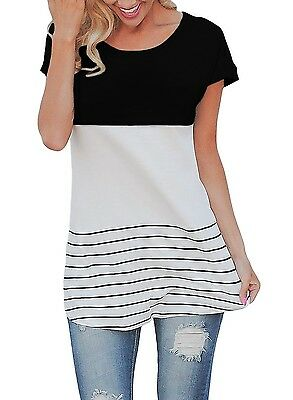 Fashion Women's Lady Summer Short Sleeve Loose Blouse Casual Lace Tops T-Shirt L