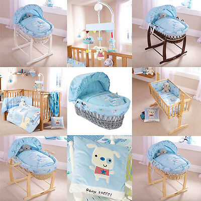 Clair de Lune Ahoy Moses Basket/Bedding Set/Musical Mobile/Cushion, Blue