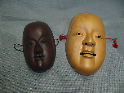 Real Japanese Noh Mask 2 set Young Beautiful Woman Face made in Showa Era