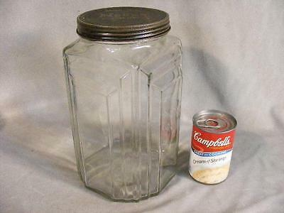 Nice Large Art Deco Glass Kitchen Container Jar - Necco Candies