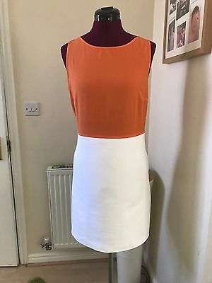 Zara White & Orange Dress Size M Approx Uk 10-12