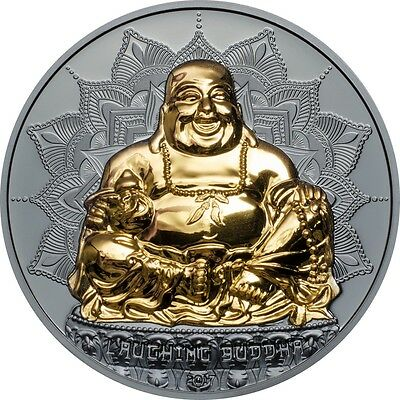Laughing Buddha 2oz gold plated .999 pure silver proof coin $10 Palau 2017