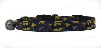 "Black yellow ""  BATMAN ""  safety kitten cat collar  3 sizes"