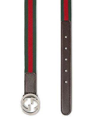 NWT$150 Gucci Kids Adjustable Brown Leather Stretch Red Green Web Belt Large