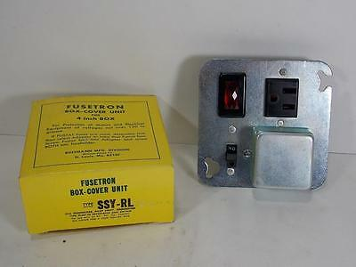 "New Fusetron Box Cover Unit For 4"" Box Type Ssy-Rl W/ Pilot Light-Switch-Outlet"