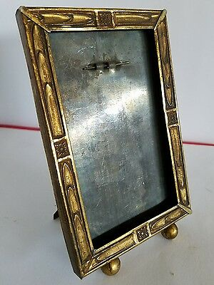 "Antique Picture Frame Metal 3.25"" x 5.75"" Ball Feet Wall or Desk"