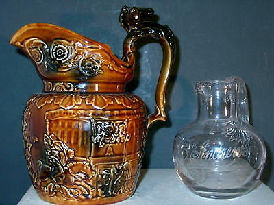 Antique English Water Jug And Large 1889 Glass Milk Pitcher