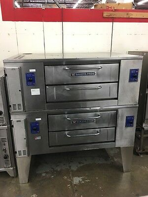 """Bakers Pride DS-805 - 48"""" Double Stack Gas Pizza Deck Oven - 7"""" Height - Refurb."""