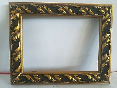 "Vintage Picture Frame Wood Gilted Gold Carved Design Edge 8"" x 6.5"""
