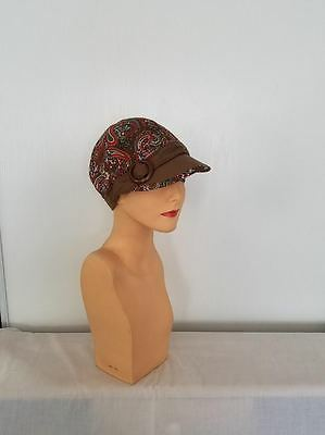 CHEMO CAP Decorative Hat BROWN RED PAISLEY Cancer HEADWEAR Turban Scarf