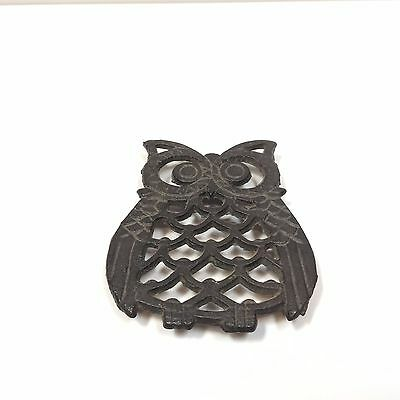 VTG wrought iron trivel coaster hot plate OWL vintage wall hanging home decor