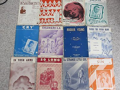 Discounted Vintage 1950's Sheet Music, Lot of 12, Tony Bennett, Marilyn Monroe