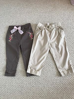 Two Pairs Of Girls Trousers 18-24 Months Monsoon And Autograph