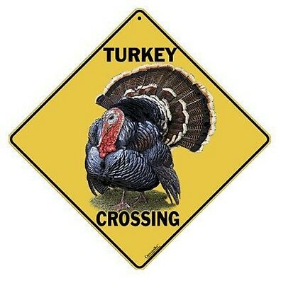 "WILD TURKEY Crossing Sign, 12"" on side, 16"" on diagonal, Indoor/Out Use-Aluminum"
