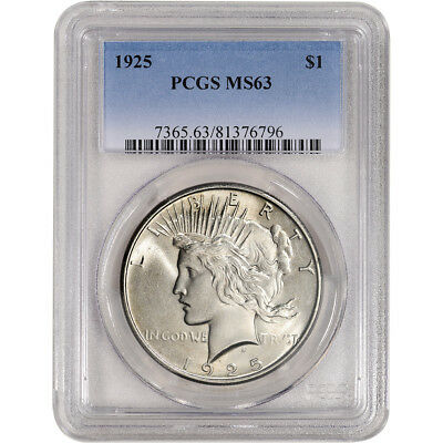 1925 US Peace Silver Dollar $1 - PCGS MS63