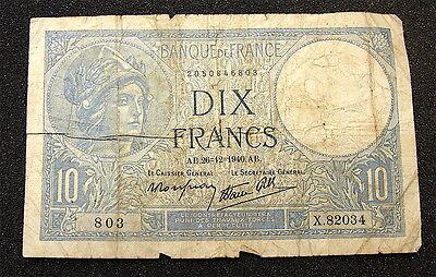 France---1940~~~~10 Francs Currency note----Limp