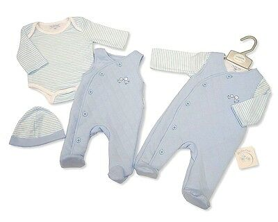 Baby Boys Traditional Outfit Quilted Overalls Bodysuit & Hat Layette Set  AW'17