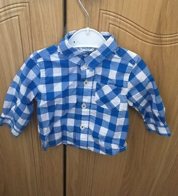 Baby Boden 3-6 Months Boys Shirt Gingham Blue Summer Holiday