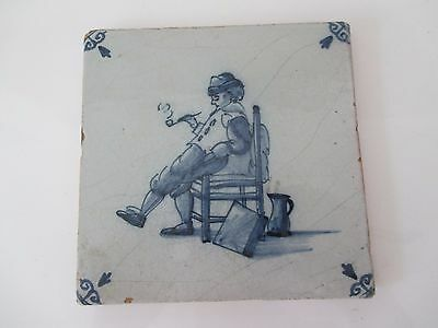 Antique Dutch Delft Tile Man With Pipe On Chair 17Th Century