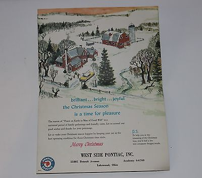 Vintage 60's Pontiac Advertising Brochure Merry Christmas Cut Outs