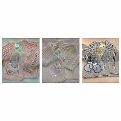 TINY BABY or REBORN- CHOOSE FROM 3 COLOURS Romany Style Cardigan 3-5lbs - 5-8lbs