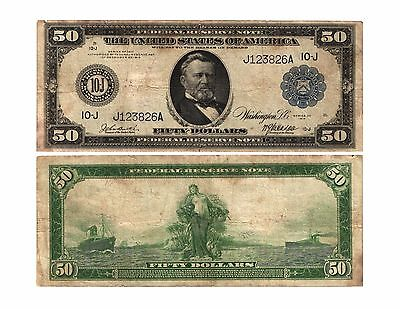 1914 $50 Lg Size Federal Reserve Note Blue Seal KANSAS CITY (J)10 FR# 1060 VG/F