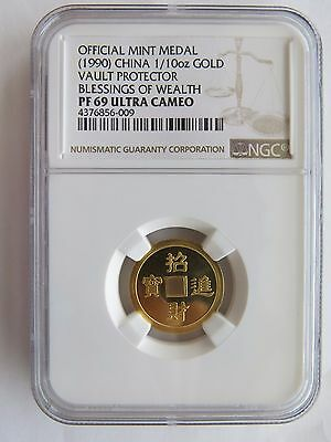 1990 1/10 oz gold Vault Protector NGC PF69 Blessings Wealth China Chinese Coin